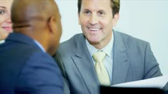 Close Up Ambitious Multi Ethnic Business Team Meeting Together Stock Footage