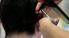 Cutting hair Stock Footage