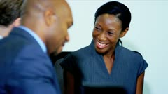 African American Business Female Meeting Clients - stock footage