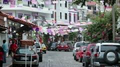 Puerto Vallarta tourist shopping area shops HD 3812 Stock Footage
