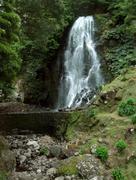 waterfall at sao miguel island - stock photo