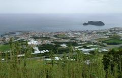 Coastal settlement at the azores Stock Photos