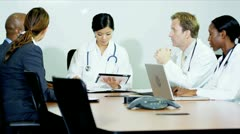 Multi Ethnic Medical Team Meeting Financial Consultancy Stock Footage