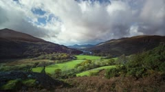 timelapse of welsh valley in the fall, Autumn, Wales - stock footage