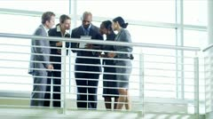African American business manager shaking hands  Stock Footage