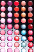 Colorful lip gloss palette Stock Photos