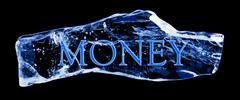 Word money frozen in the ice Stock Illustration