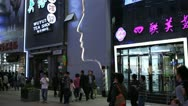 Stock Video Footage of Famous Shopping Silver Street in Beijing, China, Neon Lights by night, Shoppers