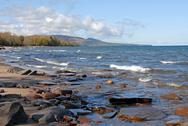 Stock Photo of lake superior shore looking towards porcupine wilderness state park