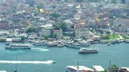 Stock Video Footage of Aerial view to ships sailing through the Bosphorus strait in Istanbul, Turkey.