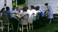 FARM FAMILY REUNION Lunch 1960 (Vintage Retro Film Home Movie Footage) 5741 Stock Footage