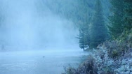 Foggy river in mountain forest. Stock Footage