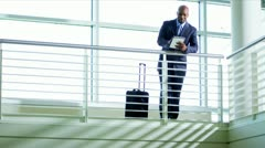 African American businessman using tablet Stock Footage
