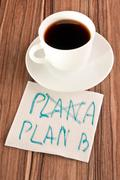 Plan b on a napkin Stock Photos