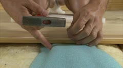 Laying of wooden floor Stock Footage