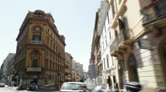 Vehicle shot of Rome historic street Stock Footage