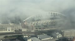 Century Link Field Football Stadium on Foggy Morning Aerial View Stock Footage