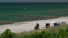 Beautiful Beach in Ahrenshoop on Darss Peninsula - Baltic Sea, Northern Germany Stock Footage