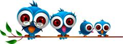 cute blue bird family cartoon set - stock illustration