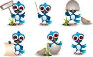 Cute blue bird family cartoon set Stock Illustration