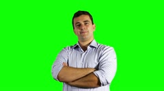 Young Businessman Smiling at the Camera Greenscreen Stock Footage