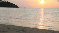 Beautiful Beach, quiet shallow water sunset. Stock Footage