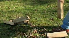 Chopping firewood Stock Footage