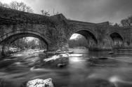 Snowey bridge in the breacon beacons Stock Photos