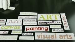 Art terms, words, time lapse Stock Footage