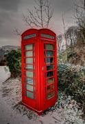 snowey phone box in the breacon beacons - stock photo