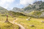 Stock Photo of path sign on italian alps