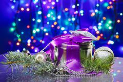 christmas  decorations with fancy box on circles bokeh background - stock photo