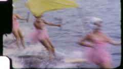 PINK TUTU GIRLS Waterskier Show 1960 (Vintage 8mm Old Home Movie Footage) Stock Footage