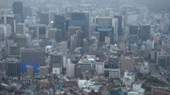 Day Aerial View of Seoul Skyline, Cityscape, South Korea, Skyscrapers, Center Stock Footage