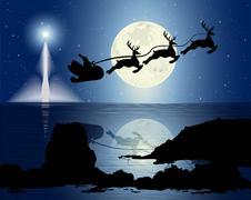 Santa's Sleigh In The Moonlight Stock Illustration