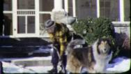 Stock Video Footage of SHOVELING SNOW PET COLLIE DOG 1960 (Vintage Old Film Home Movie Footage) 5757