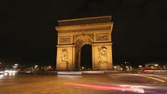 Arc de Triomphe. Night Timelapse. - stock footage