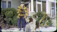 SHOVELING SNOW PET COLLIE DOG 1960 (Vintage Old Film Home Movie Footage) 5758 Stock Footage