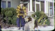 Stock Video Footage of SHOVELING SNOW PET COLLIE DOG 1960 (Vintage Old Film Home Movie Footage) 5758