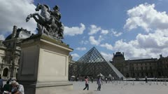 Louvre squere in Paris Stock Footage