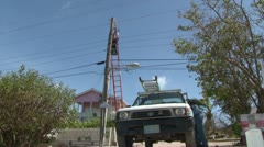 Restoring power after a hurricane - stock footage