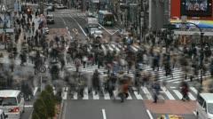 Tokyo Crosswalk Busy Commuters People Walking Crossing Business Crowd Time Lapse - stock footage