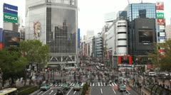 Busy City People Shopping Street Shibuya Crossing Tokyo Traffic Crowd Time Lapse Stock Footage