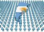 Argentina map flag surrounded by many abstract people illustration Stock Illustration