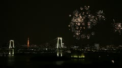 Fireworks Display, Tokyo Skyline, Rainbow Bridge, Tokyo Bay, Tokyo Tower Stock Footage