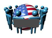 Circle of abstract people with sign around usa flag sphere illustration Stock Illustration