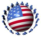 Circle of abstract people around usa flag sphere illustration Stock Illustration