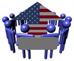 Circle of abstract people with sign around american flag arrow illustration Stock Illustration