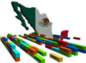 Mexico map with stacks of export containers illustration Stock Illustration