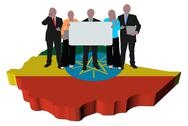 Business team with sign on ethiopia map flag illustration Stock Illustration